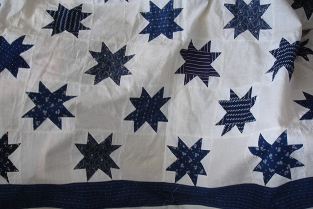 blue & white quilt top